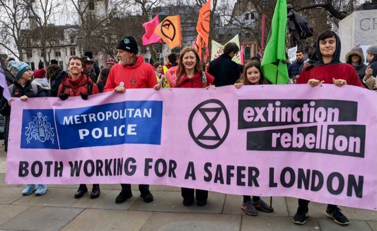 Banner on Extinction Rebellion march in London, 22 February. Photo: Twitter
