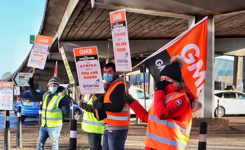 British Gas workers on strike, Photo: GMB
