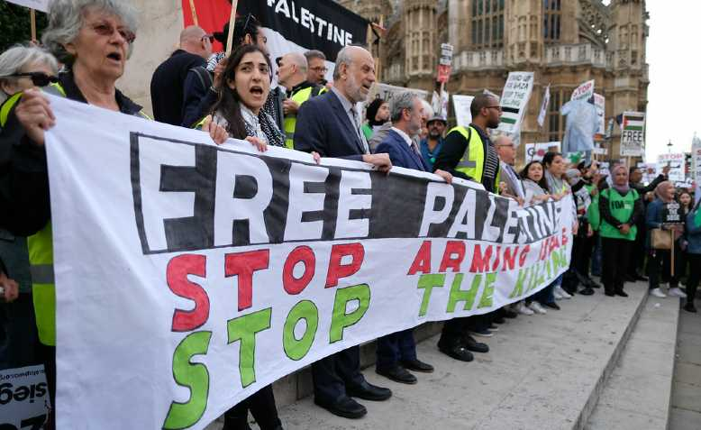 Palestine solidarity protest outside parliament on 5 June 2018. Photo: Alisdare Hickson/cropped from original/licensed under CC2.0, linked at bottom of article