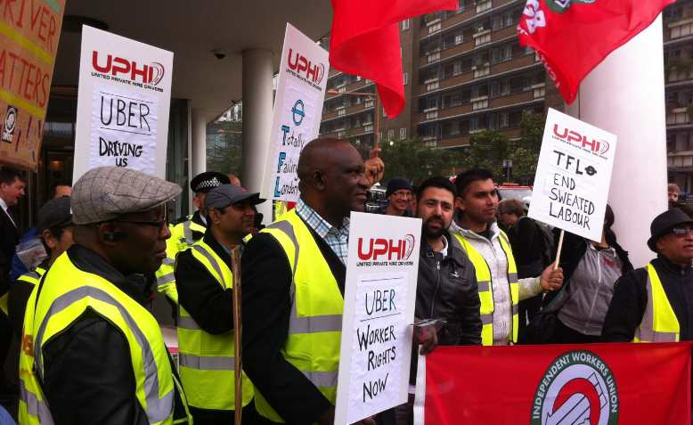 Uber drivers protesting against precarious labour
