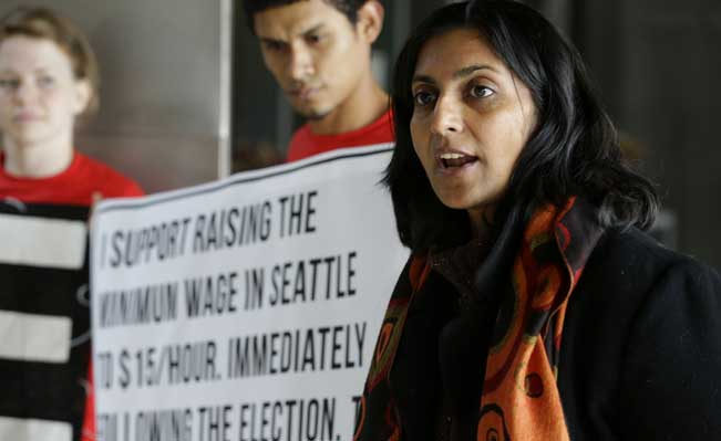 Kshama Sawant, a Seattle socialist who campaigned on a promise to lead the fight for a $15-an-hour minimum wage