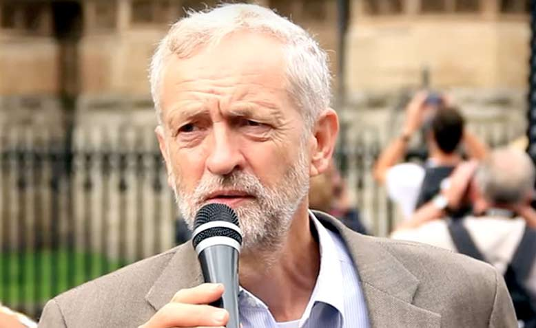 Jeremy Corbyn speaking outside parliament about the government's arms deals with Bahrain | Source: Wikimedia