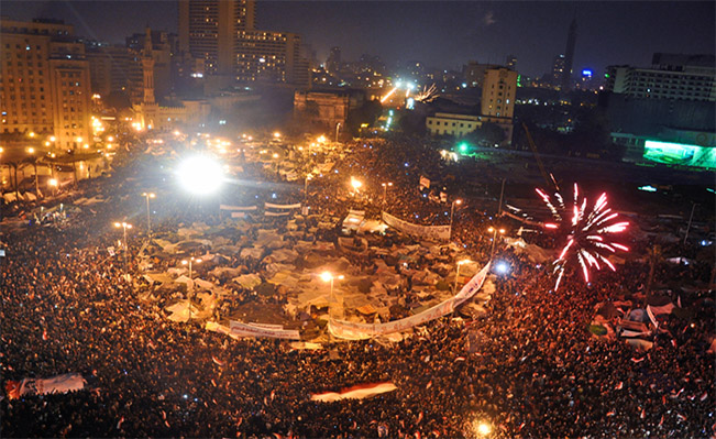 Demonstrators take over Tahrir Square | Source: Wikipedia