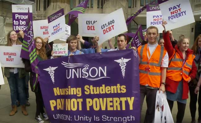 Student nurses protest. Photo: Screen grab from Unison video