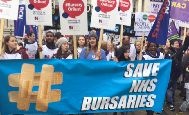 Student nurses march against cuts