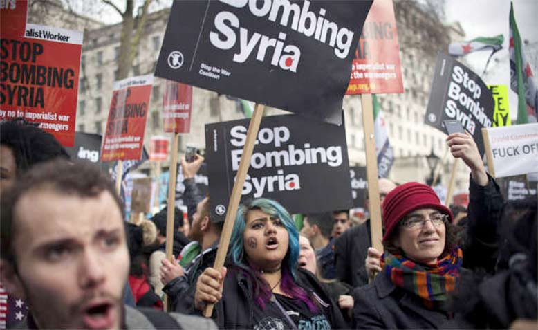 Anti-war protest in London, December 2015. Photo: Jim Aindow