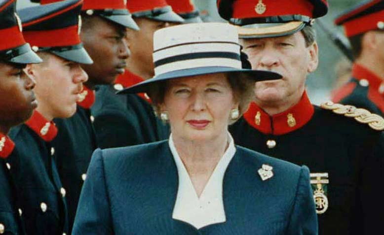 Thatcher reviewing her troops. Photo: Wikipedia