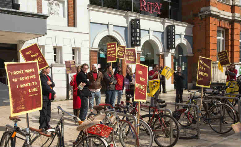 Cinema workers protesting for higher pay in Brixton. Photo: Flickr/M.o.B 68