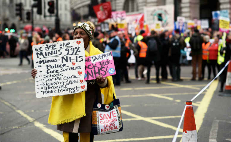 We are the minus 99%, Britain is Broken demo, Jan 12, 2019. Photo: Jim Aindow