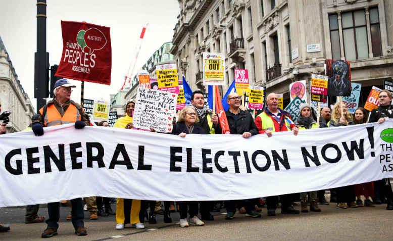Front banner on the Britain is Broken: General Election Now demonstration, 12 January 2019. Photo: Jim Aindow