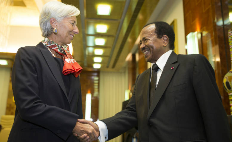 Paul Biya with IMF Director, Christine Lagarde, 2016. Photo: Flickr/International Monetary Fund
