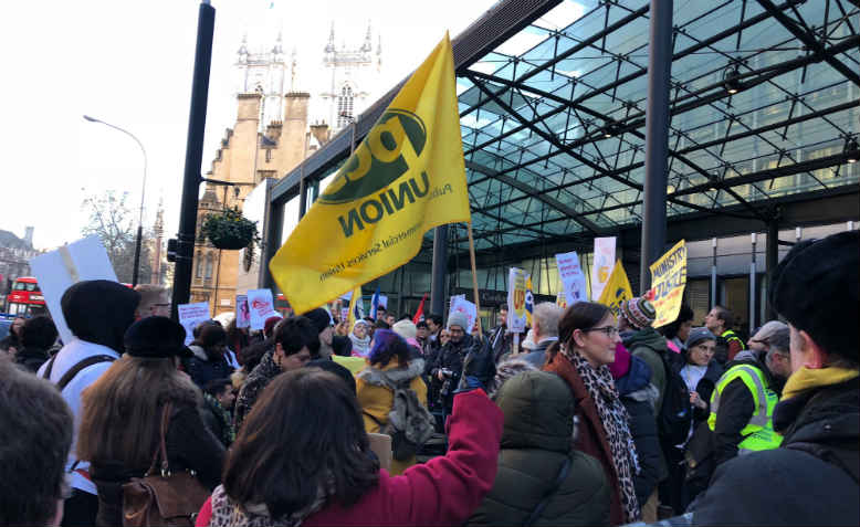 Joint PCS and UVW strike rally outside Department for BEIS, 22 January 2018. Photo: Shabbir Lakha