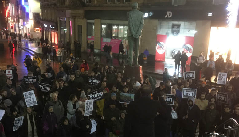Gathering at the anti-war protest in Glasgow