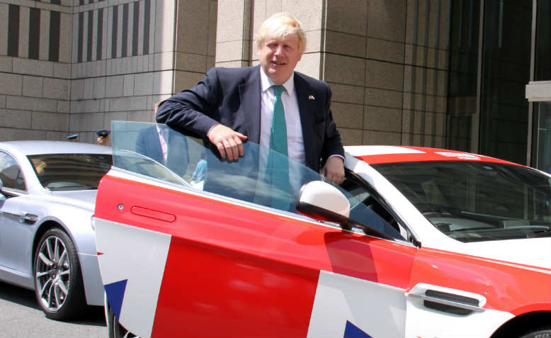 Boris Johnson in a Union Jack-covered supercar. Photo: Wikimedia Commons