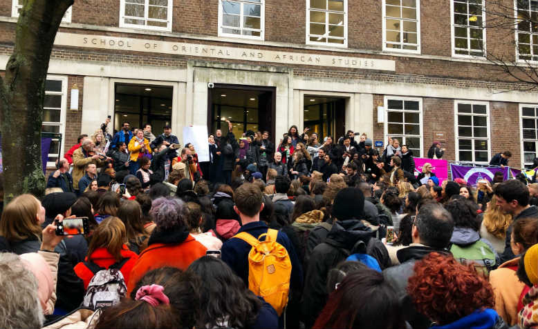 SOAS walkout and protest, Thursday 23 January. Photo: Shabbir Lakha