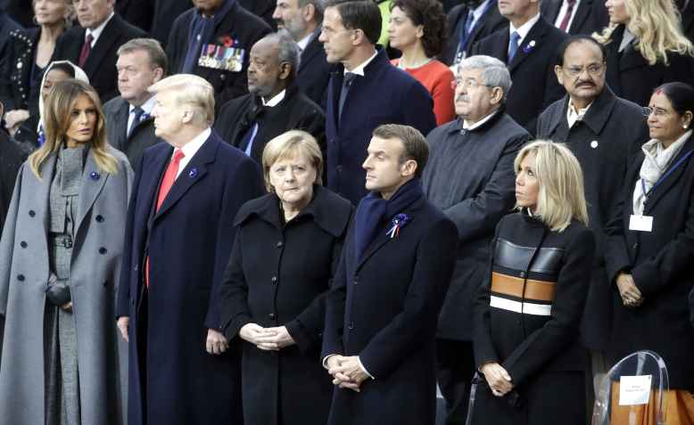 Trump, Merkel and Macron. Photo: wikimedia commons