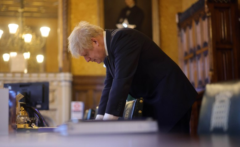 Boris Johnson prepares for PMQs, 2020 Photo: UK prime minister Flikr / cropped from original / licensed under CC BY-NC-ND 2.0, linked a bottom of article