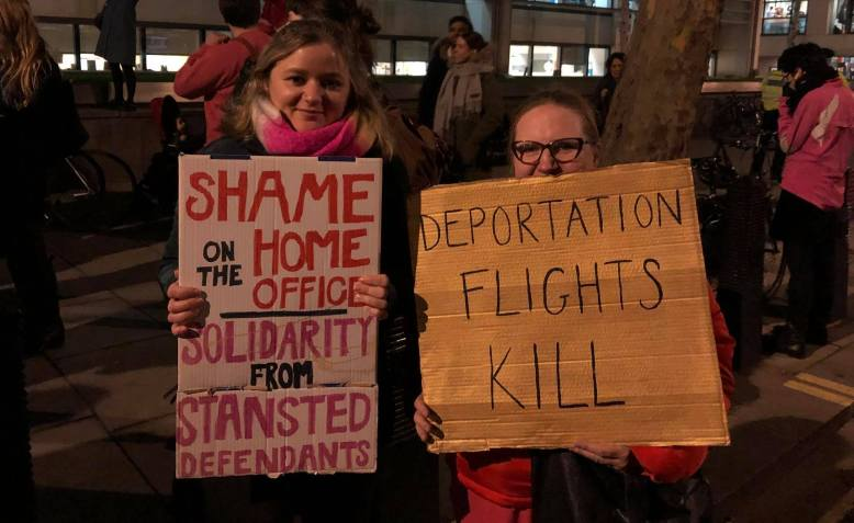 Solidarity with the Stansted 15 protest, December 2018