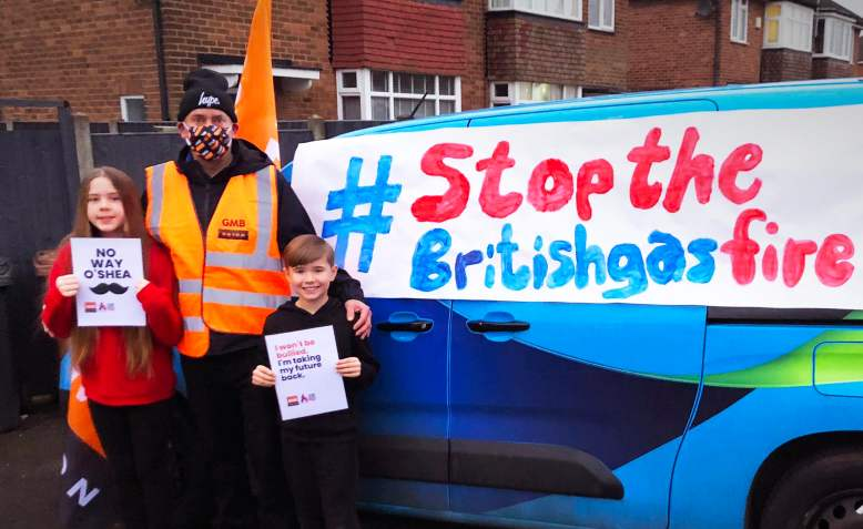 British Gas worker on strike. Photo: GMB union