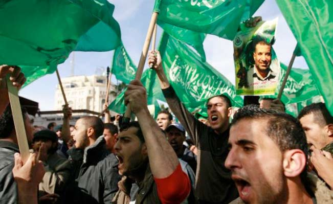 Palestinian Hamas supporters march in support of the people of the Gaza Strip in the West Bank city of Ramallah, November 2012. Photo by AP
