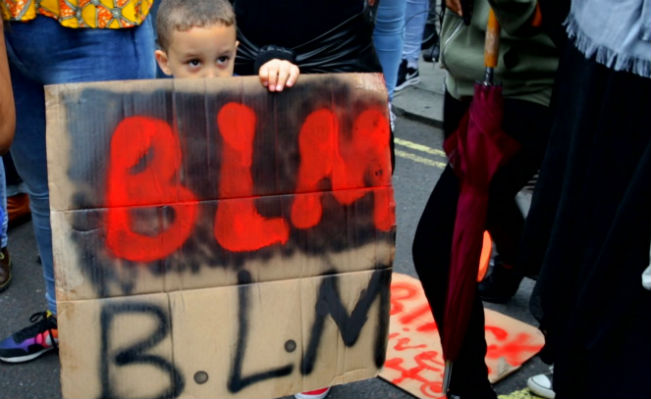 Black Lives Matter demonstration, London, 10 July 2016. Photo: YouTube/SocializeMediaUK