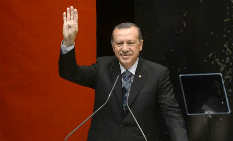 Erdoğan making Rabia sign for solidarity with Muslim Brotherhood protesters after 2013 Egyptian coup d'état. Photo: Wikipedia