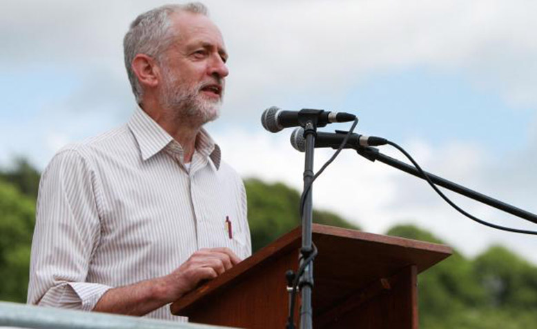 Jeremy Corbyn speaking at the Miners' Gala in 2015. Photo: durhamminers.org