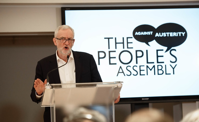 Jeremy Corbyn speaks at People's Assembly meeting, March 2020. Photo: Jim Aindow via flickr