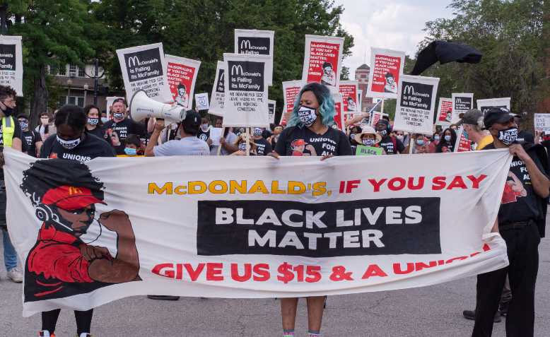 Fight for $15 march for Black Lives Matter on Juneteenth 2020. Photo: Joe Brusky / Flickr / CC Non-Commercial 2.0, licence linked at bottom of article