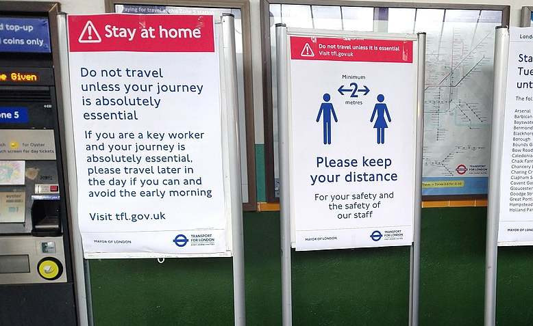 TfL ran services all through the Lockdown. Here are some Coronavirus safety notices. Photo: Philafrenzy / Wikimedia Commons / cropped original image / licensed under CC 4.0, linked at bottom of article