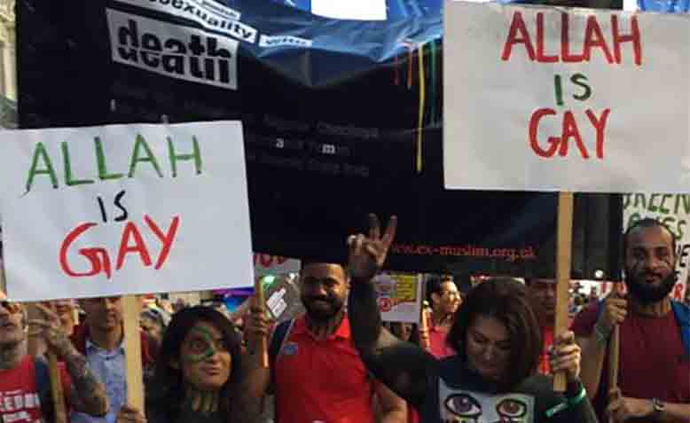Anti-Muslim protestors at Pride. Photo: Youtube