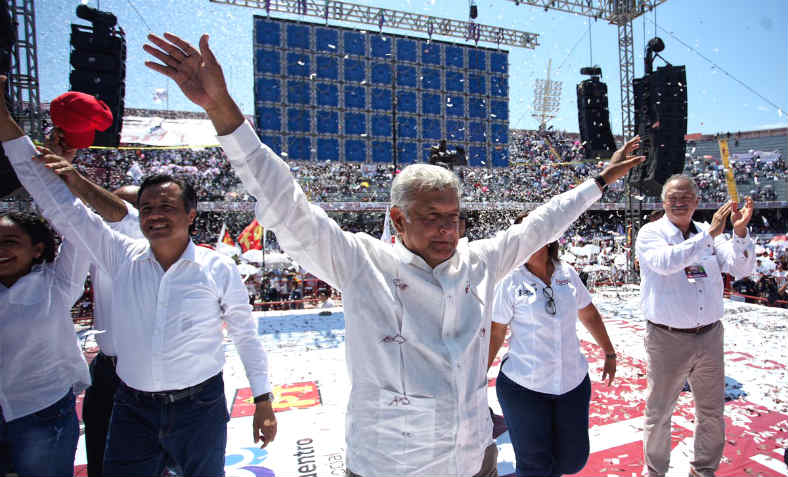 Andrés Manuel López Obrador at a victory rally after his election as President of Mexico.