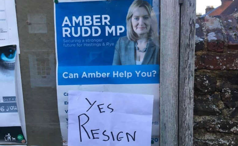 Sign telling Amber Rudd to resign in Hastings. Photo: Chrissy Brand
