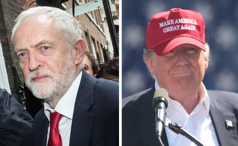 Jeremy Corbyn, Donald Trump. Photos: Wikimedia Commons