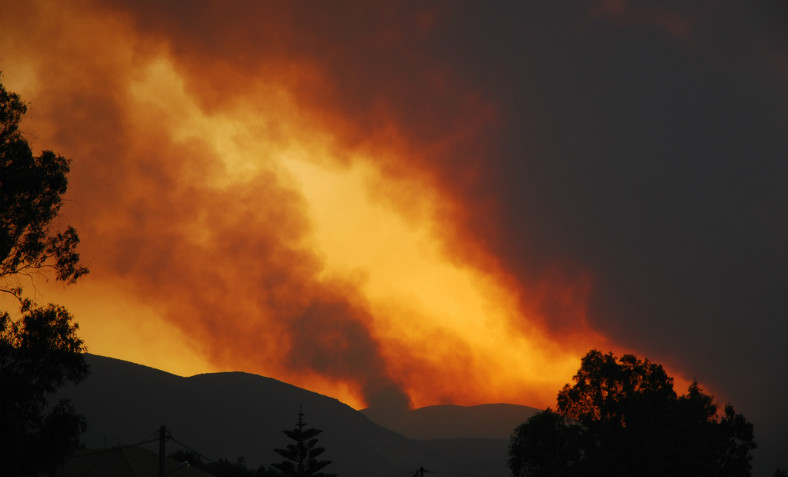 Forest fire burns on the island of Zakynthos in Greece on July 25th, 2007