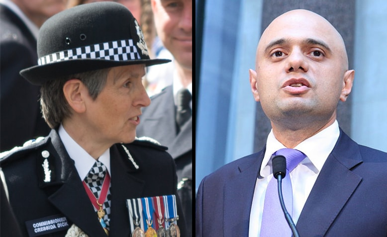 Cressida Dick, Commissioner of the Metropolitan Police, and Sajid Javid, Home Secretary. Photos: Wikimedia Commons