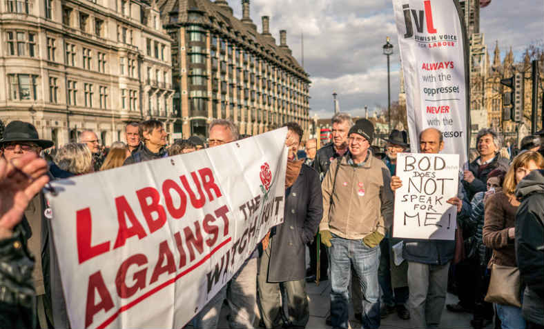 Protest in Parliament Square against false claims of antisemitism against Jeremy Corbyn, March 2018. Photo: Jewish Voice for Labour