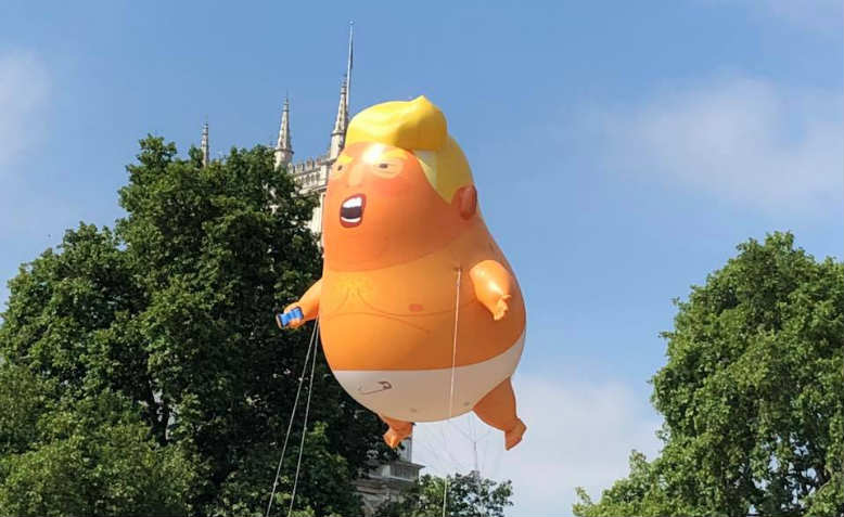 Trump baby flying in Parliament Square, Friday 13th July. Photo: Shabbir Lakha