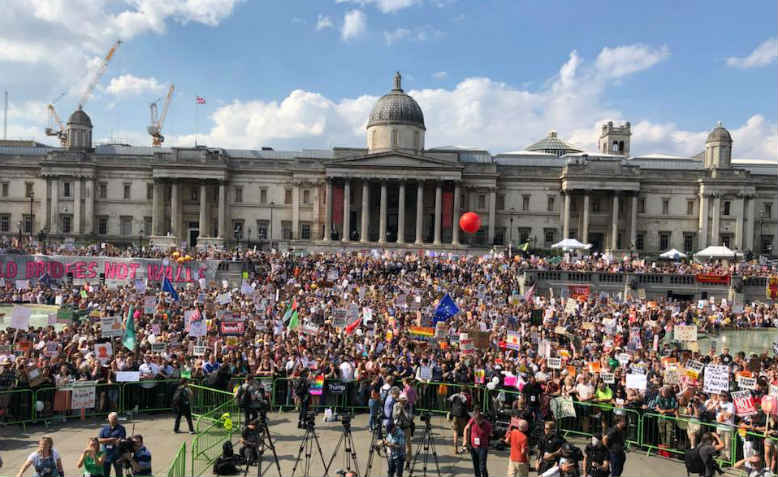 Rally at Trafalgar Square during the 250,000 strong Together Against Trump demonstration, Friday 13 July. Photo: Shabbir Lakha