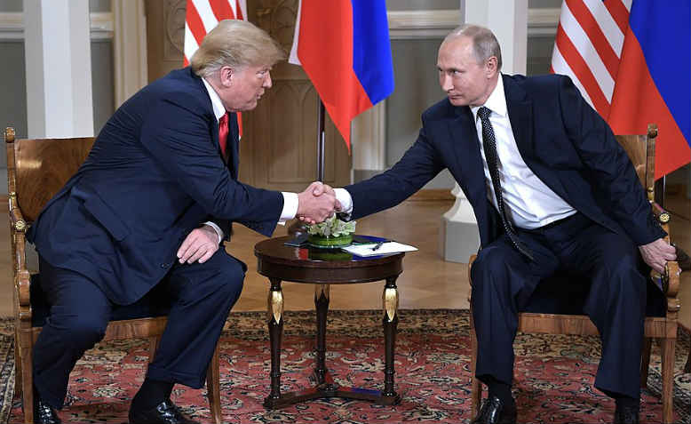Trump and Putin meet in Helsinki, July 2018. Photo: Wikimedia Commons