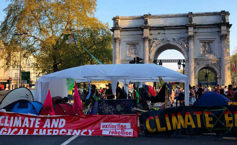 Extinction Rebellion, Marble Arch. Photo: Shabbir Lakha