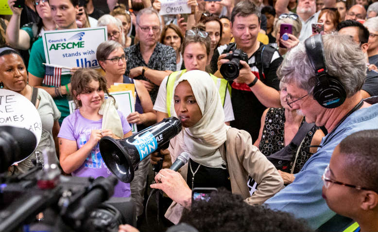 Ilhan Omar arrives in Minnesota after Trump's attacks, July 2019. Photo: Lorie Shaull