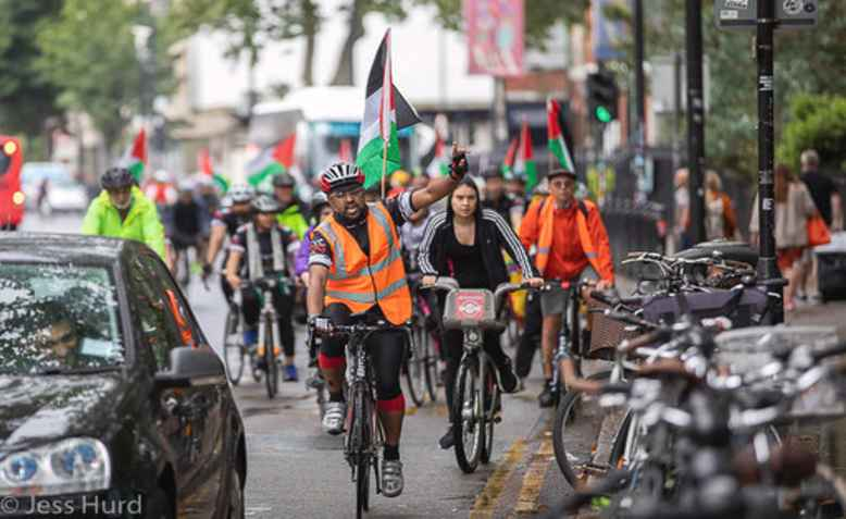 The Big Ride for Palestine, July 27th 2019. Photo: Jess Hurd