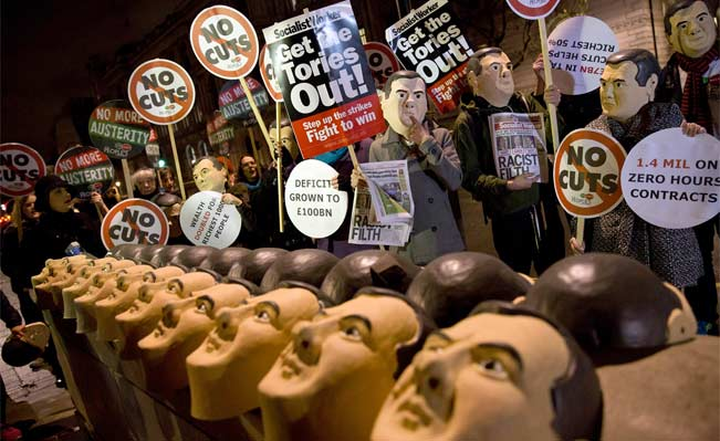 People's Assembly protest outside 10 Downing Street on December 2, 2014, on the eve of the autumn statement. Photograph: AFP/Justin Tallis
