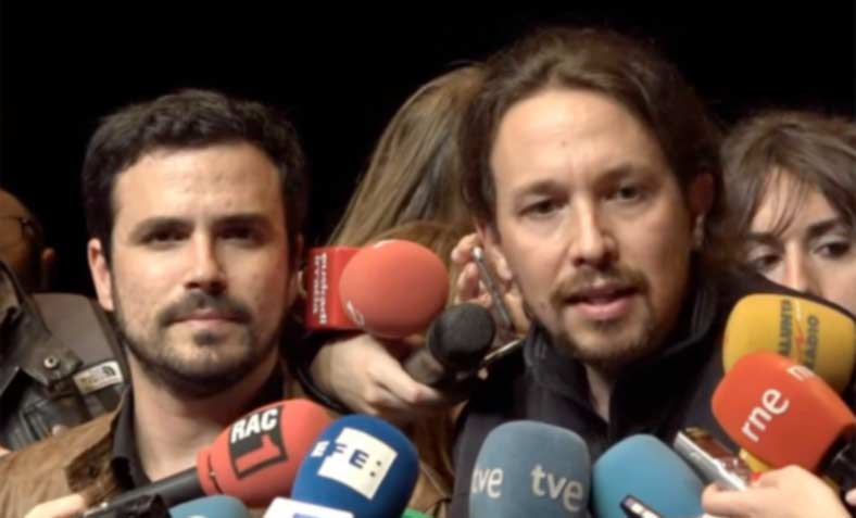 Albert Garzon and Pablo Iglesias anounce the formation of a the new left alliance, Unidos Podemos (image Podemos)