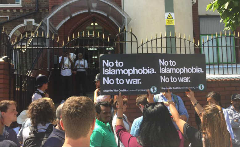Outside Finsbury Park Mosque, 19th June. Photo: Maz Saleem