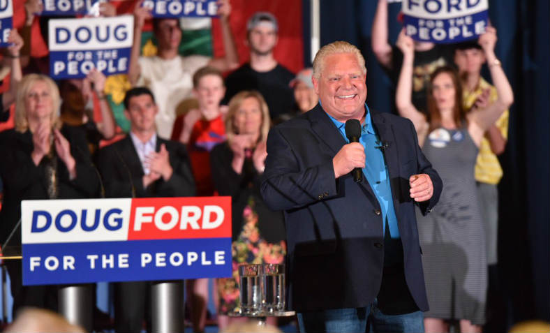 Ontario Conservative Party leader Doug Ford at an election rally.