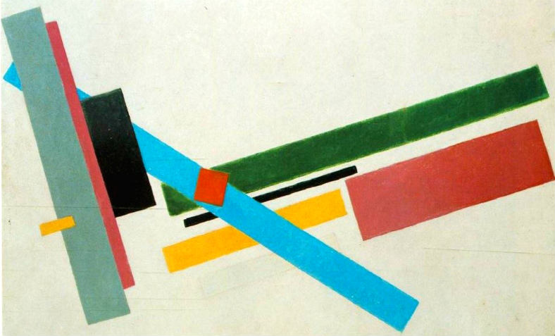 An abstract painting by Russian revolutionary artist Kazimir Malevich, date/title unknown.