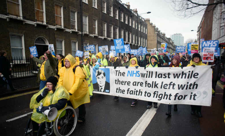 Bevan banner, NHS demo, 3.1.18. Photo: Counterfire