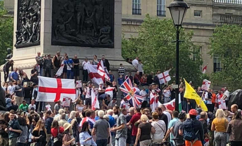 Tommy Robinson supporters gathering in Trafalgar Square before the rally in Whitehall, Saturday 9 June. Photo: Floyd Codlin